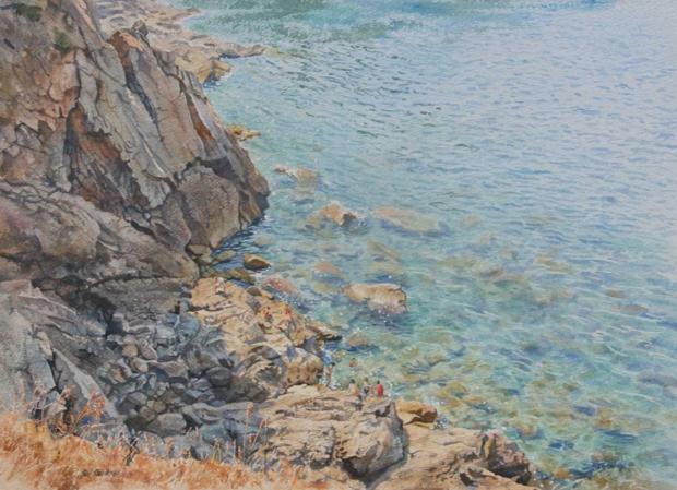 Faulkner-Neil-Swimming-off-the-Rocks,-Majorca