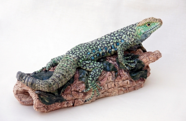 Moger-Jill-Eyed lizard on a log - stoneware - 14x28cms - £800.jpg