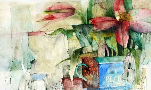 Shirley Travena Two Flowers in a Blue Vase
