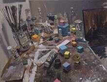 Hughes_Tom_Studio corner with skull and coloured cubes sq.jpg