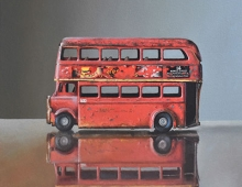 Lucy McKie ROI Old Toy Bus on Glass