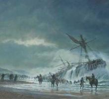 HMS Anson wrecked on Loe Bar