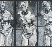 Venus de' Medici Triptych by Peter Clossick, 2017. Oil pastel and paint on paper, 118 x 86 cm. Image Felix and Spear..jpeg