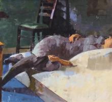 James Bland NEAC, Reclining Figure, Evening