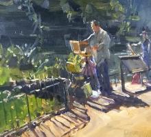 Roger Delalr PS RI ROI Painting Thameside
