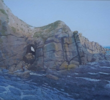 """The Tunnel- Porthgwarra"" Watercolour & bodycolour on paper by Colin Allbrook"