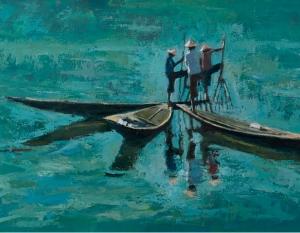 Patrick Gibbs, Three Fisherman Working Together, Inle Lake, Burma (detail)