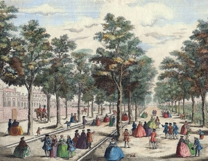 St James's Park taken near the stable yard; 1794       Unknown artist, after John Maurer, (active 1713–1761) Publishers: Laurie and Whittle Hand coloured copperplate engraving (detail)