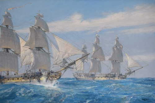 Hunt-Geoff-Enemy-Fleet-at-Sea!-Active-and-Seahorse-racing-to-Nelson,-19-January-1805.jpg