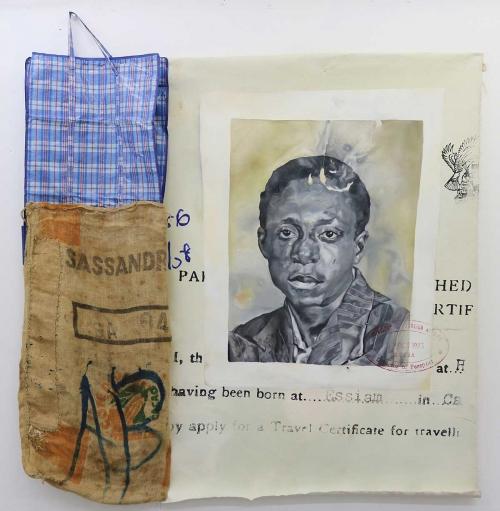 Akussah-Annie-Marie-Kwantunyi-Oil-on-canvas-jute-sac-cheque-bag-171cm-x-171cm.jpg