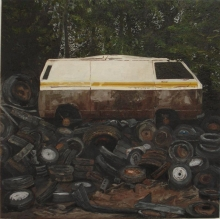 Cains-Rebecca-Scrapped Van on Piled Up Tyres.jpg