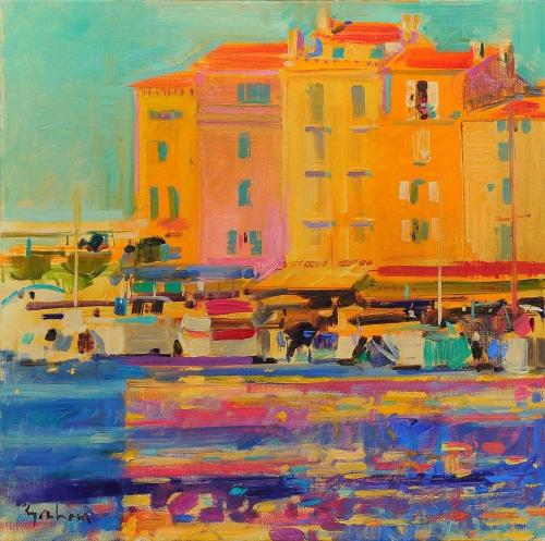 Peter Graham Artist Shimmering Light St Tropez Port