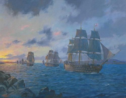 Hunt-Geoff-Nightfall-Over-Agincourt-Sound--HMS-Victory-Leads-The-Fleet-20th-January-1805.jpg