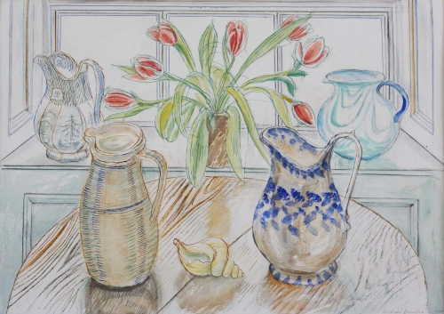 Bawden-Richard-Tulips and Four Jugs.jpg