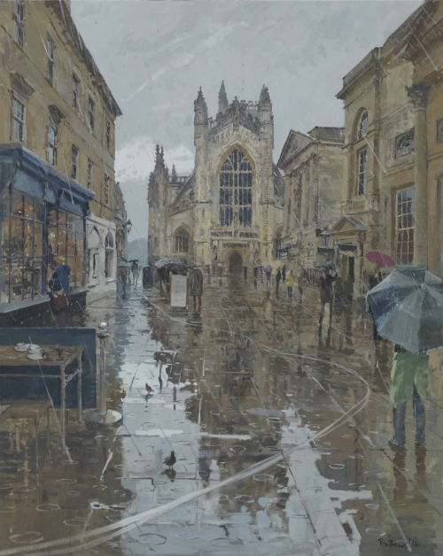 Brown-Peter-Pigeons in the Rain, Abbey Courtyard, Bath.jpg