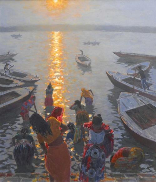 Cullen-Patrick-Women Bathing at Varanasi, Dawn (4).jpg