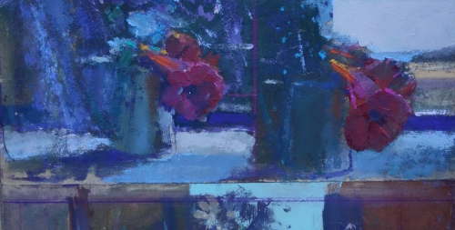 Curtis Paul Vine Trumpets, Studio St Ives Acrylic and Oil 30x54cm £675.jpg