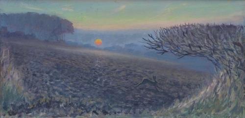 Partington-Peter-Midwinter-Sunset-And-Running-Hare.jpg