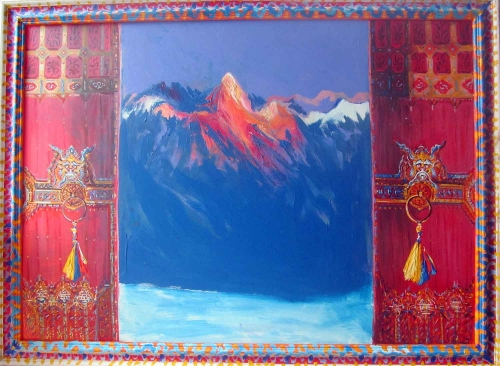 Pittaway-Neil-From-A-Himalayan-Temple-Acrylic-on-board-with-painted-frame-.jpg