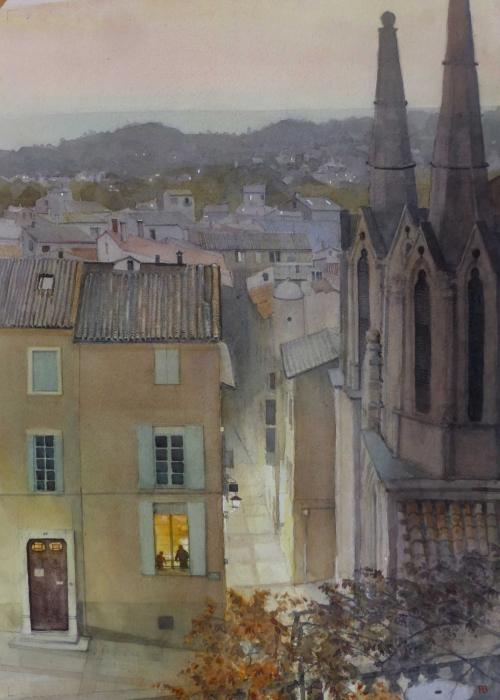 Banning-Paul-Evening-Light-Across-the-roof-tops-Sommieres.jpg