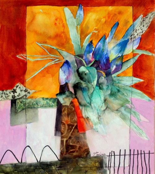Trevena-Shirley-Orange-Sunset-with-Blue-Flowers.jpg