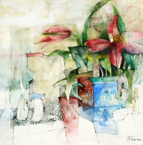 Trevena-Shirley-Two-Flowers-in-a-Blue-Vase.jpg