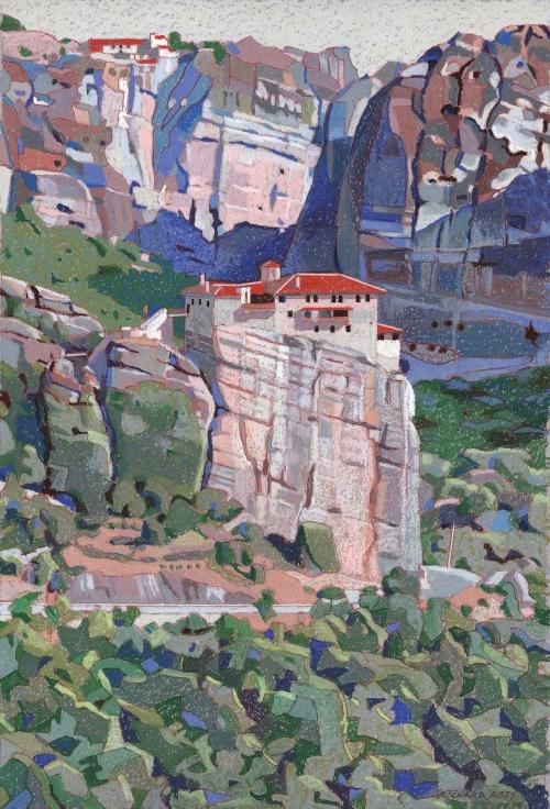 Rees-Richard-Roussanou-Monastery-Meteora-Greece-Oil-Pastel.jpg