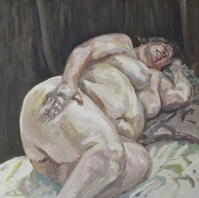 'Sharon lying down', oil on canvas', 48inches x 48inches, £7000.JPG