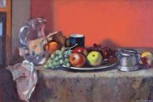 Baffoni Pier Luigi, Still life glass jug and fruit