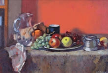 Baffoni Pier Luigi, Still life glass jug and fruit