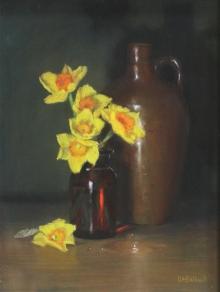 Balkwill-Liz-Narcissi in brown bottle with demi john.jpg