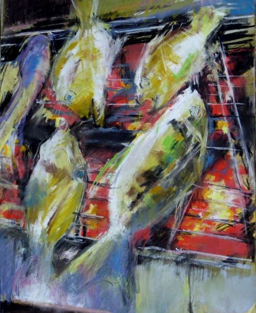 'Barbecue Fish' pastel work by Keith Bennett
