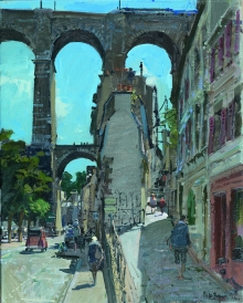 Brown-Peter-The Viaduct with the TGV and the 2CV, Morlaix.jpg