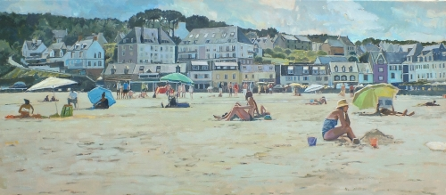 Cook Richard P . Sandcastles- Hot Day Brittany. (oil on canvas).JPG