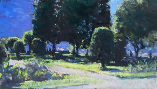 'Monastery Garden, Nice -Morning Light' pastel work by Louise Diggle
