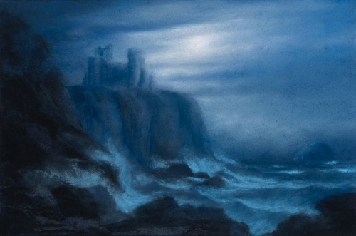 Draper-Matthew-Illuminated, A View of Tantallon Castle with the Bass Rock (Homage to Alexander Nasmyth).jpg