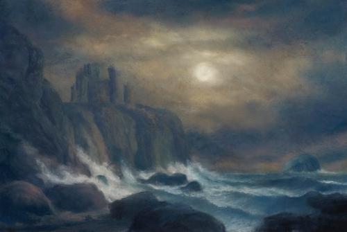 Draper-Matthew-Moonlit, A View of Tantallon Castle with the Bass Rock (Homage to Alexander Nasmyth).jpg