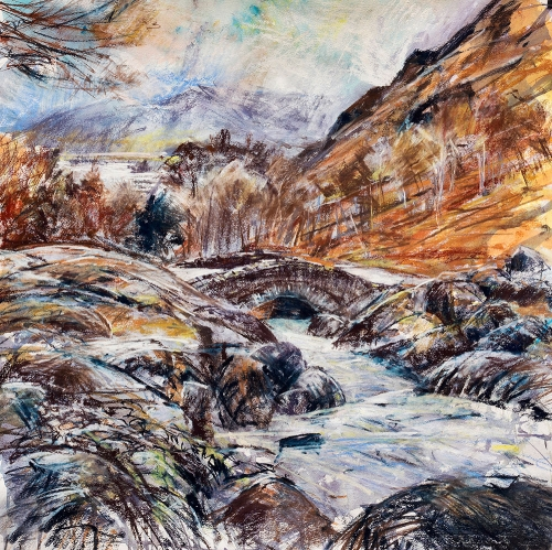 'Autumn, Ashness Bridge - The Lake District' mixed media work by Robert Dutton