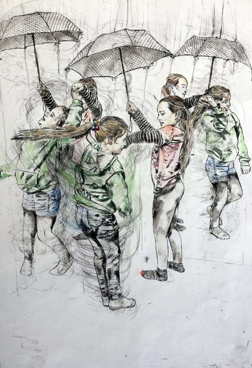 Ellerbeck-Anna-Playground-Games-67x37cm-etching-with-water-colour-wash-and-dry-point-etching.jpg