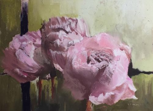 'Peonies' pastel work by Lyn Evans