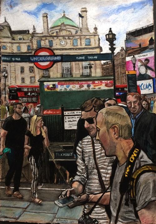 'Street Scene' pastel work by Adam Ferjany