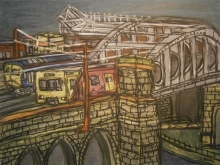 Jonathan Gray, Trains Passing on Monkwearmouth Bridge - Mall Galleries