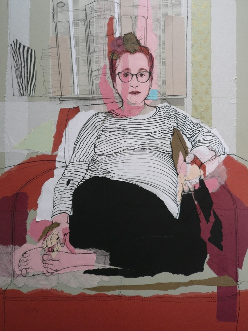 'Meryl with Bertie' conte on collage work by Lyn Gray