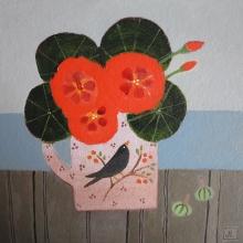 Leman-Jill-Blackbird & Nasturtiums.jpg