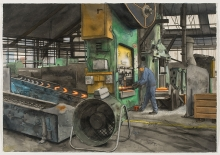 Lockwood-Arthur-Cutting off surplus metal from the casting, Stokes Forgings,Dudle.jpg