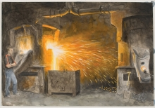 Lockwood-Arthur-Pouring slag from the furnace, Cradley Castings.jpg