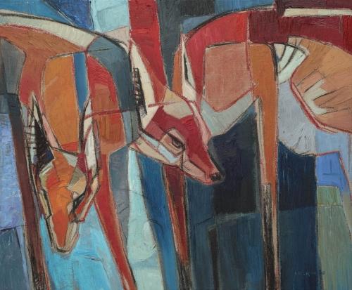 Lockwood-Rachel-Foxes Search Blue Wood, 54x65cm oil on linen.jpg