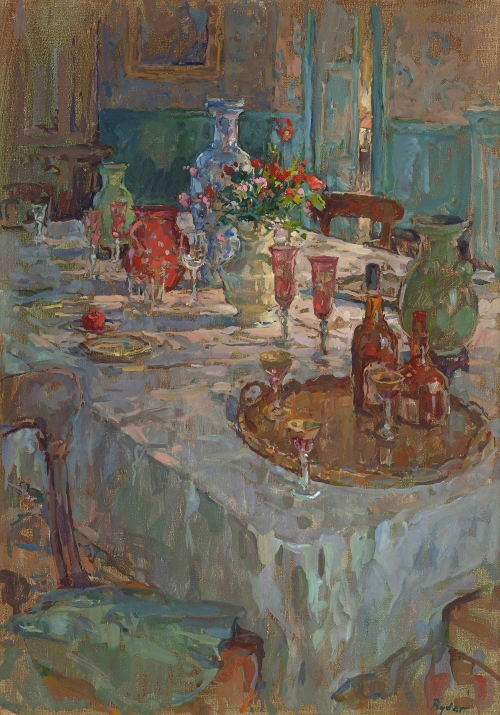 Susan Ryder RP NEAC Dining Table with French Lamp