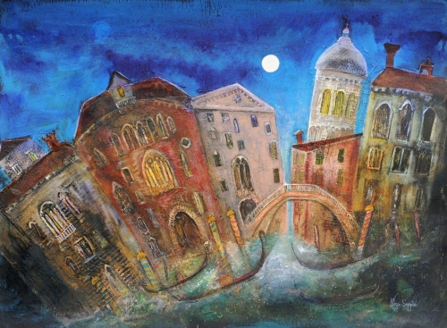 'Ponte Veneziano' mixed media painting by Rosa Sepple