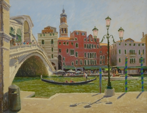 'The Grand Canal at Rialto' pastel work by David Allen